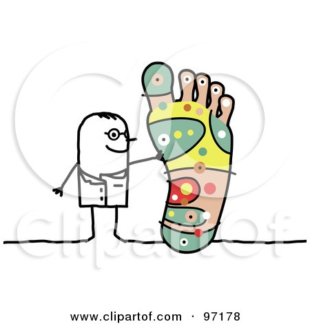 Royalty-Free (RF) Clipart Illustration of a Stick People Podiatrist Discussing Reflexology Of The Foot by NL shop