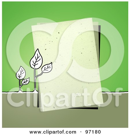 Royalty-Free (RF) Clipart Illustration of Seedling Plants By A Piece Of Paper Over Green by NL shop