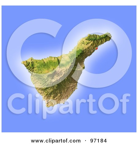 Royalty-Free (RF) Clipart Illustration of a Shaded Tenerife Relief Map by Michael Schmeling