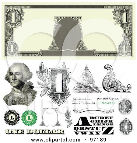 Royalty-Free (RF) Clipart Illustration of a Digital Collage Of One Dollar Bill Bank Note Design Elements - 2 by BestVector