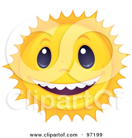 Royalty-Free (RF) Clipart Illustration of a Friendly Sun Face Smiling And Showing White Teeth by John Schwegel