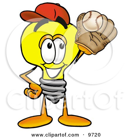 Clipart Picture of a Light Bulb Mascot Cartoon Character Catching a Baseball With a Glove by Toons4Biz