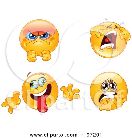 Royalty-Free (RF) Clipart Illustration of a Digital Collage Of Pissed, Crying, Goofy And Terrified Emoticon Faces by yayayoyo