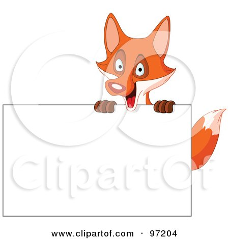 Royalty-Free (RF) Clipart Illustration of a Happy Fox Looking Over A Blank Sign by yayayoyo