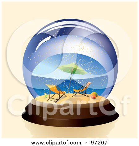 Royalty-Free (RF) Clipart Illustration of a Pair Of Beach Chairs And Umbrella On A Tropical Beach In A Snow Globe by Eugene