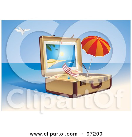 Royalty-Free (RF) Clipart Illustration of a Beach Chair And Umbrella In A Suitcase Of Sand On A Tropical Beach by Eugene