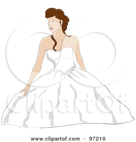 Royalty-Free (RF) Clipart Illustration of a Brunette Bride Sitting On The Floor, Her Wedding Gown Puffing Around Her by Pams Clipart