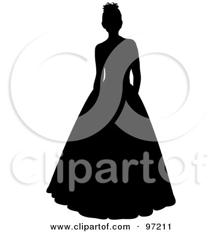 Royalty-Free (RF) Clipart Illustration of a Black Silhouetted Bride Or Debutante Standing In A Formal Dress by Pams Clipart