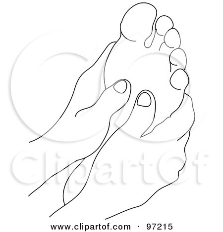 Royalty-Free (RF) Clipart Illustration of an Outlined Pair Of Hands Massaging A Foot by Pams Clipart
