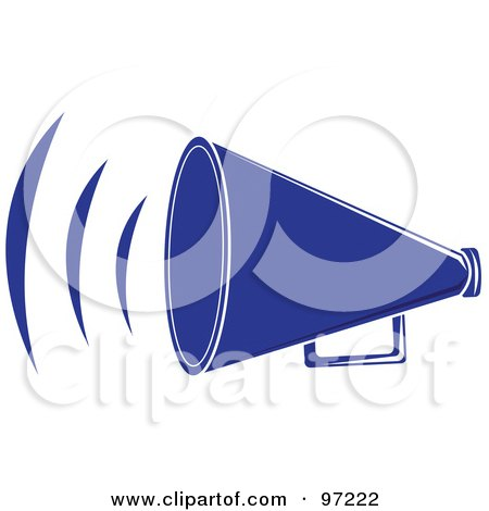 Royalty-Free (RF) Clipart Illustration of a Loud Blue Megaphone With Sound Waves by Pams Clipart