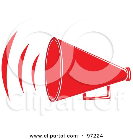Royalty-Free (RF) Clipart Illustration of a Loud Red Megaphone With Sound Waves by Pams Clipart