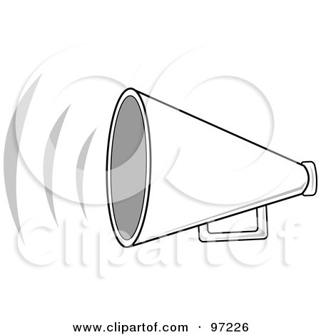 Royalty-Free (RF) Clipart Illustration of a Loud White Megaphone With Sound Waves by Pams Clipart