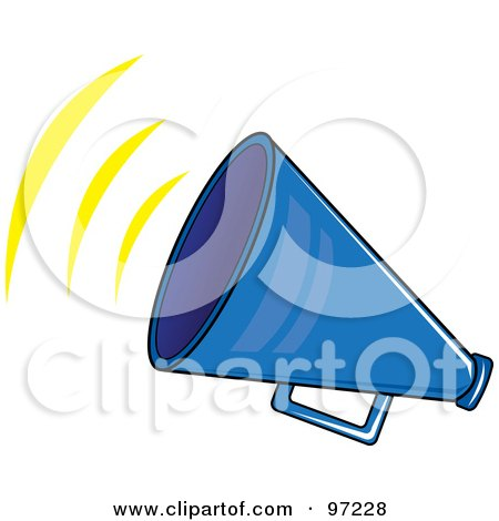 Royalty-Free (RF) Clipart Illustration of a Noisy Blue Megaphone With Sound Waves by Pams Clipart