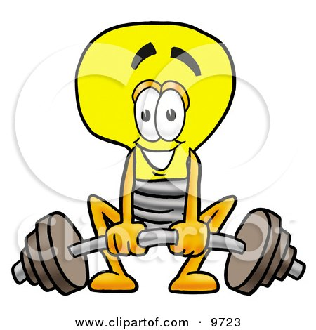 Clipart Picture of a Light Bulb Mascot Cartoon Character Lifting a Heavy Barbell by Toons4Biz