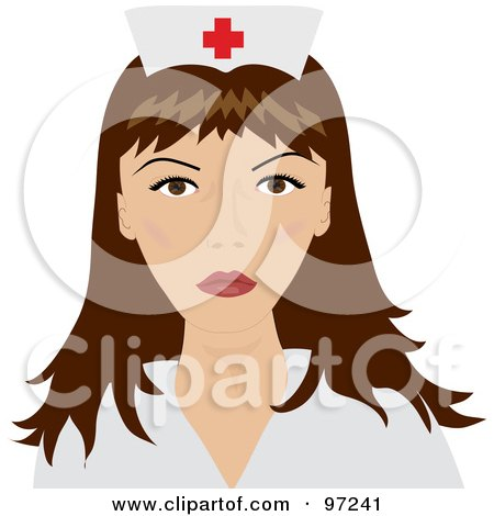 Royalty-Free (RF) Clipart Illustration of a Beautiful Brunette Female Nurse In A Medical Uniform by Pams Clipart