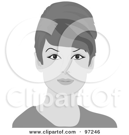 Royalty-Free (RF) Clipart Illustration of a 60s Styled Grayscale Retro Woman With Beehive Hair by Pams Clipart
