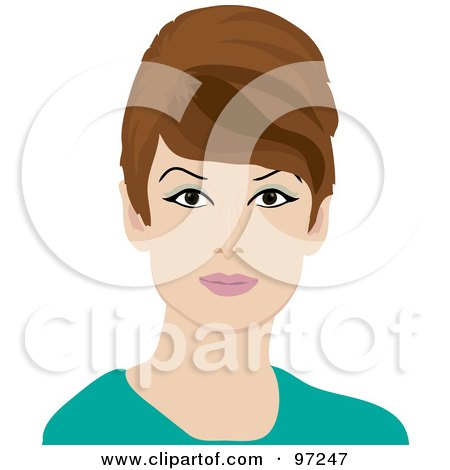 Royalty-Free (RF) Clipart Illustration of a Portrait Of A 60s Styled Retro Woman With Brunette Hair by Pams Clipart