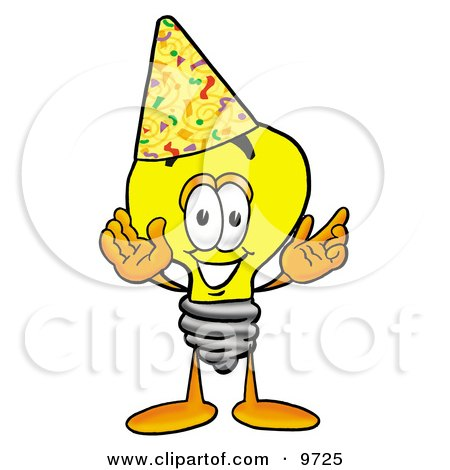 Clipart Picture of a Light Bulb Mascot Cartoon Character Wearing a Birthday Party Hat by Toons4Biz