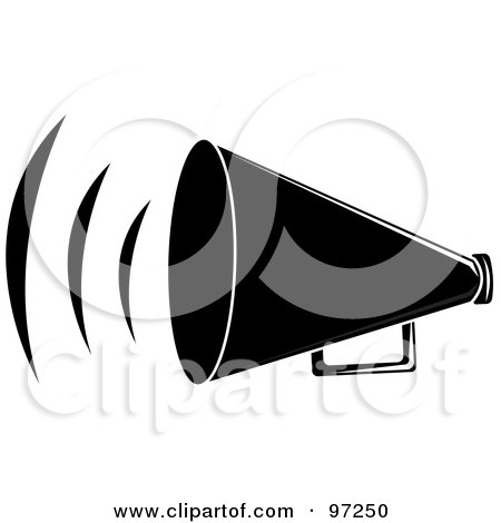 Royalty-Free (RF) Clipart Illustration of a Loud Black Megaphone With Sound Waves by Pams Clipart