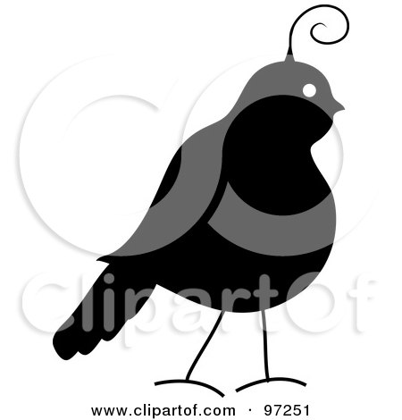 Royalty-Free (RF) Clipart Illustration of a Profile Of A Silhouetted Partridge by Pams Clipart