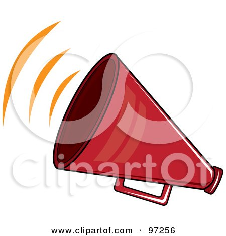 Royalty-Free (RF) Clipart Illustration of a Noisy Red Megaphone With Sound Waves by Pams Clipart
