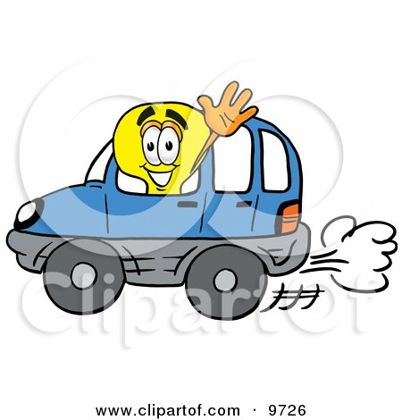 Clipart Picture of a Light Bulb Mascot Cartoon Character Driving a Blue Car and Waving by Toons4Biz