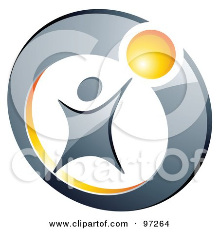 Royalty-Free (RF) Clipart Illustration of a Silver Person Reaching For A Yellow Ball In A Ring by beboy