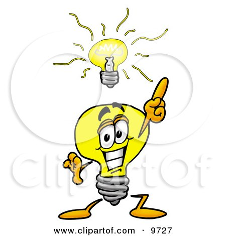 Clipart Picture of a Light Bulb Mascot Cartoon Character With a Bright Idea by Toons4Biz