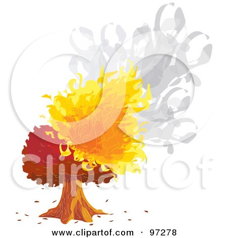 Royalty-Free (RF) Clipart Illustration of a Mature Tree Engulfed In Smoke And Flames by PlatyPlus Art