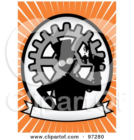 Royalty-Free (RF) Clipart Illustration of a Steampunk Man Holding A Gun Over A Blank Banner And Gear Oval, On An Orange Ray Background by mheld