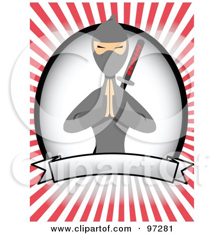 Royalty-Free (RF) Clipart Illustration of a Ninja Over A Blank Banner And Oval, On A Red Ray Background by mheld