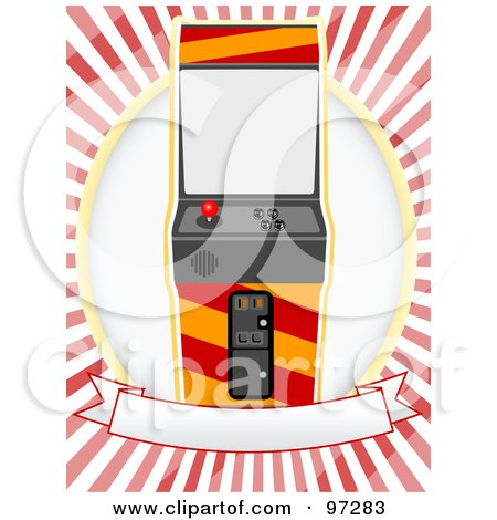 Royalty-Free (RF) Clipart Illustration of an Arcade Machine On A Blank Banner And Oval Over Red And White Rays by mheld