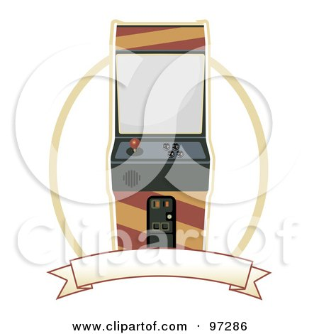 Royalty-Free (RF) Clipart Illustration of an Arcade Machine Over A Blank Banner And Oval by mheld
