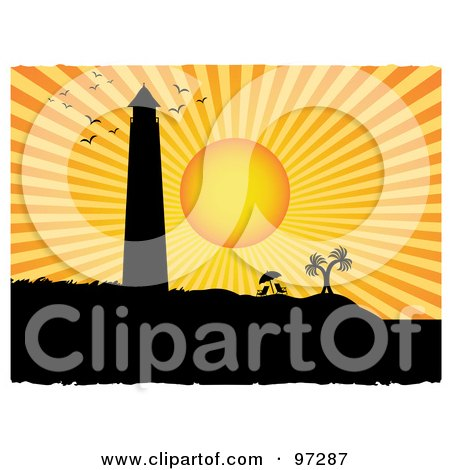 Royalty-Free (RF) Clipart Illustration of a Bright Orange Sunset Silhouetting Gulls, A Lighthouse, Beach Chairs And Palm Trees by mheld