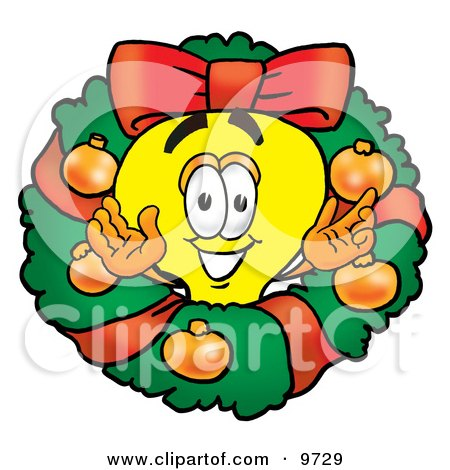 Clipart Picture of a Light Bulb Mascot Cartoon Character in the Center of a Christmas Wreath by Toons4Biz
