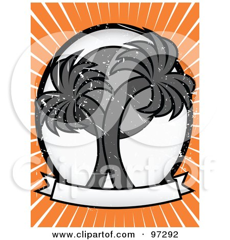 Royalty-Free (RF) Clipart Illustration of a Sun Behind Two Grungy Gray Palm Trees On A Blank Banner, With Orange And White Rays by mheld