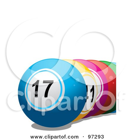 Royalty-Free (RF) Clipart Illustration of a Row Of Colorful Lottery Balls by elaineitalia