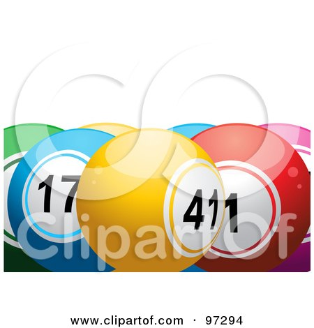 Royalty-Free (RF) Clipart Illustration of Colorful Lottery Balls, Yellow 41 In The Front by elaineitalia