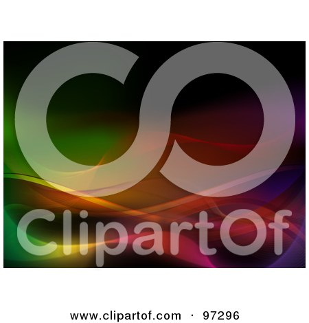 Royalty-Free (RF) Clipart Illustration of an Abstract Colorful Background Of Currents And Neon Waves by elaineitalia