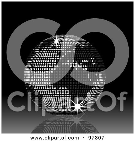 Royalty-Free (RF) Clipart Illustration of a 3d Black And Silver Sparkly Disco Ball Globe On A Reflective Black Background by elaineitalia