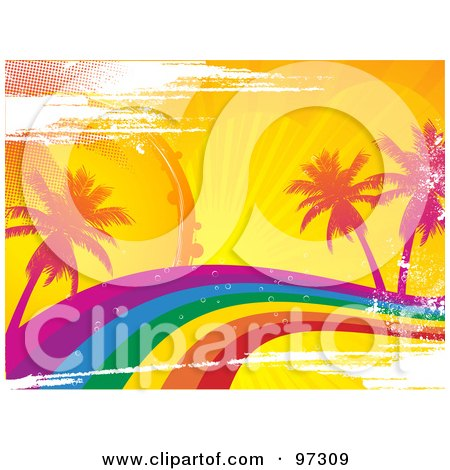Royalty-Free (RF) Clipart Illustration of a Grungy Rainbow Wave With Tropical Palm Trees by elaineitalia