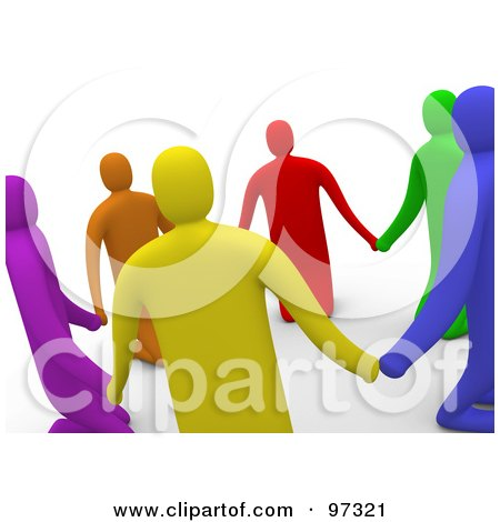Royalty-Free (RF) Clipart Illustration of 3d Colorful People Praying And Holding Hands In A Circle by 3poD