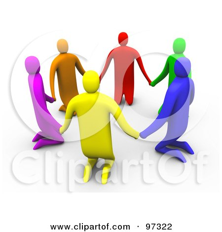 Royalty-Free (RF) Clipart Illustration of 3d Colorful People Kneeling And Holding Hands In A Circle by 3poD