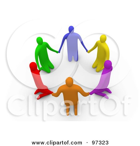 Royalty-Free (RF) Clipart Illustration of 3d Colorful People On Their Knees In A Circle by 3poD