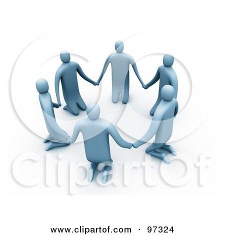 Royalty-Free (RF) Clipart Illustration of 3d Blue People Kneeling And Holding Hands In A Circle by 3poD