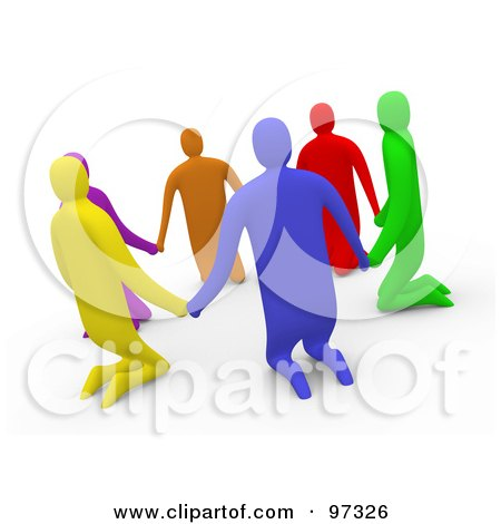 Royalty-Free (RF) Clipart Illustration of 3d Diverse People Kneeling And Holding Hands In A Circle by 3poD
