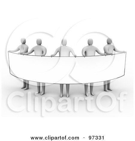 Royalty-Free (RF) Clipart Illustration of 3d Gray People Standing And Holding Up A Long Rectangular Blank Sign by 3poD