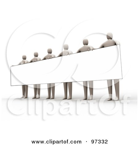 Royalty-Free (RF) Clipart Illustration of 3d Beige People Standing And Holding Up A Long Rectangular Blank Sign by 3poD
