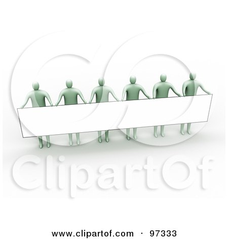 Royalty-Free (RF) Clipart Illustration of 3d Green People Standing And Holding Up A Long Rectangular Blank Sign by 3poD