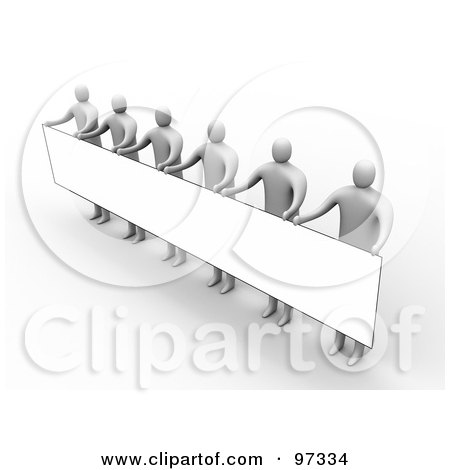 Royalty-Free (RF) Clipart Illustration of 3d People Standing And Holding Up A Long Rectangular Blank Sign by 3poD